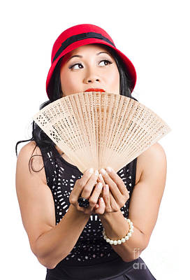 Fan Of Asia. Stylish Chinese Lady With Oriental Fan Poster