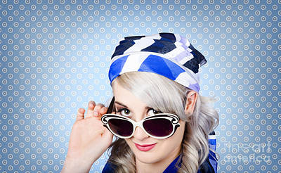 Fashion Portrait Of A Girl In Fifties Sunglasses Poster by Jorgo Photography - Wall Art Gallery