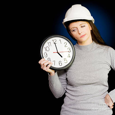 Female Architectural Engineer Watching Time Pass Poster