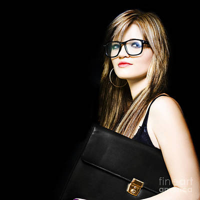 Female Art Student Holding Portfolio Compendium Poster by Jorgo Photography - Wall Art Gallery