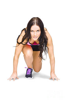 Female Marathon Runner On White Background Poster