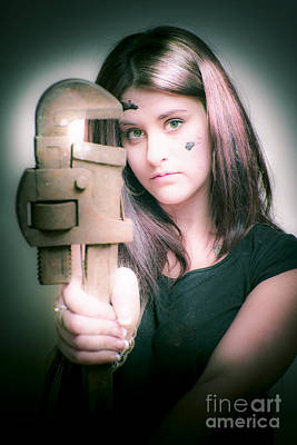 Female Plumber With Wrench Poster by Jorgo Photography - Wall Art Gallery