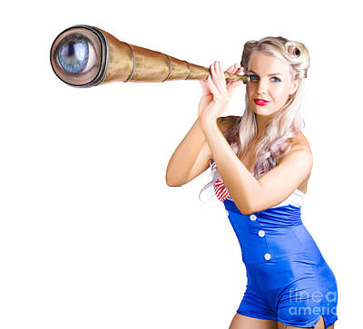 Female Sailor With Telescope Poster by Jorgo Photography - Wall Art Gallery