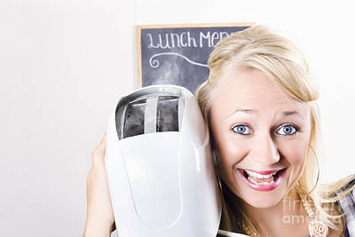 Female Waiter Serving Breakfast With Hot Bread Poster