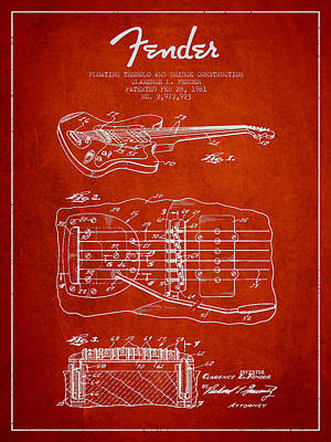 Fender Floating Tremolo Patent Drawing From 1961 - Red Poster by Aged Pixel