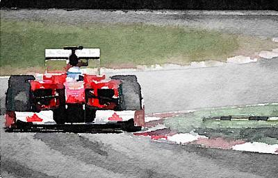 Ferrari F1 Race Watercolor Poster by Naxart Studio