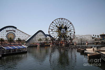 Ferris Wheel And Roller Coaster - Paradise Pier - Disney California Adventure - Anaheim California - Poster