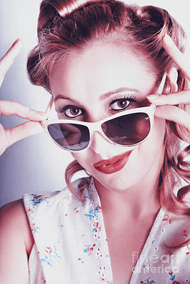 Fifties Glamor Girl Wearing Retro Pin-up Fashion Poster