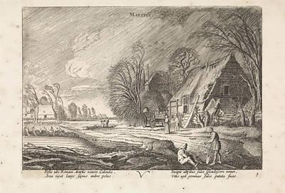 Figures At A Farm In The Rain March, Jan Van De Velde II Poster