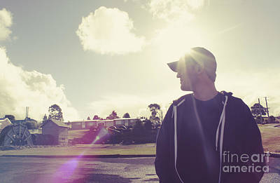 Filtered Style Retro Photo. Sun Flare Travel Man  Poster by Jorgo Photography - Wall Art Gallery