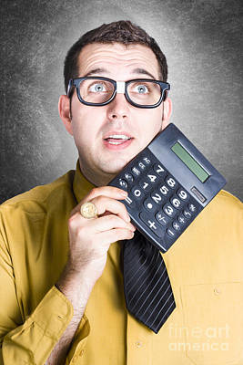 Finance Office Worker Thinking With Big Calculator Poster by Jorgo Photography - Wall Art Gallery