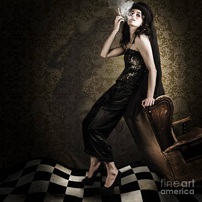 Fine Art Grunge Fashion Portrait In Dark Interior Poster