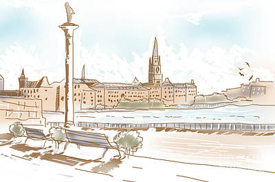 Fine Art Landscape Sketch Of Stockholm Sweden  Poster by Jorgo Photography - Wall Art Gallery