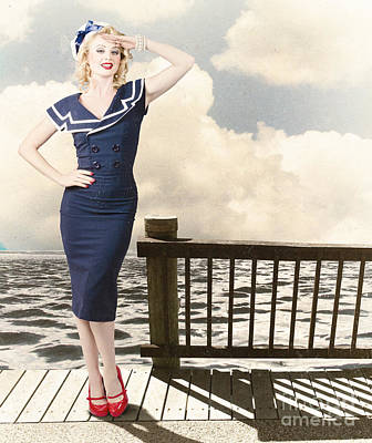 Fine Art Vintage Pin-up. Vacation Departure Dock Poster