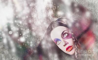 Fine Art Woman In Light Of Spiritual Awakening Poster