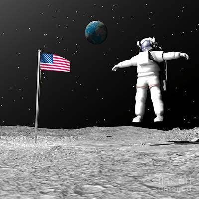 First Astronaut On The Moon Floating Poster by Elena Duvernay