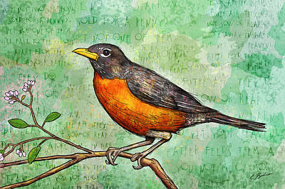 First Robin Of Spring Poster by Gary Bodnar