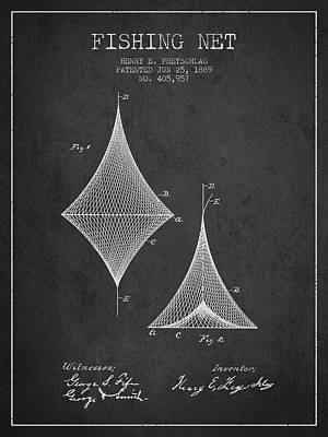 Fishing Net Patent From 1889- Charcoal Poster by Aged Pixel