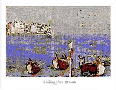 Poster featuring the painting Fishing Pier by Pemaro