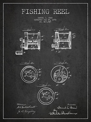 Fishing Reel Patent From 1892 Poster by Aged Pixel