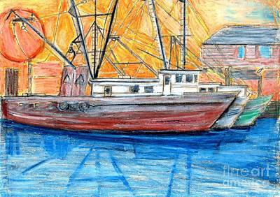 Poster featuring the drawing Fishing Trawler by Eric  Schiabor