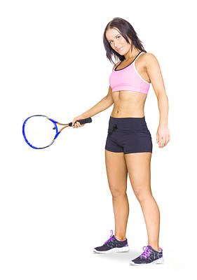 Fit Active Female Sports Person Playing Tennis Poster
