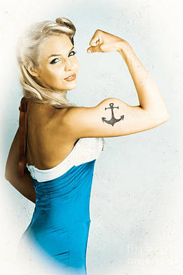 Fit Pin-up Girl With Big Muscles And Anchor Tattoo Poster by Jorgo Photography - Wall Art Gallery