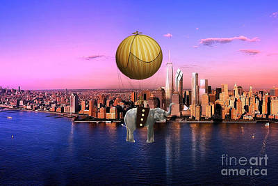 Flight Over The New York Skyline On A Hot Air Balloon Poster by Marvin Blaine
