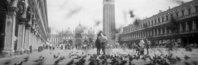 Flock Of Pigeons Flying, St. Marks Poster by Panoramic Images