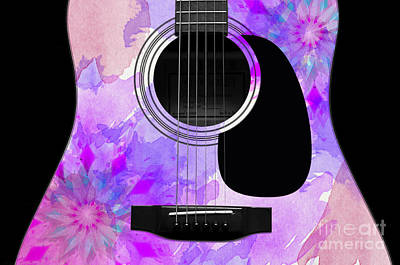 Floral Abstract Guitar 17 Poster by Andee Design