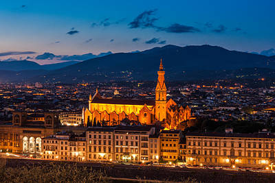 Florence City At Night Poster