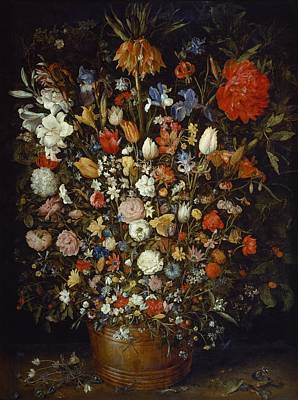Flowers In A Wooden Vessel Poster by Jan Brueghel the Elder