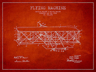 Flying Machine Patent Drawing From 1906 Poster by Aged Pixel