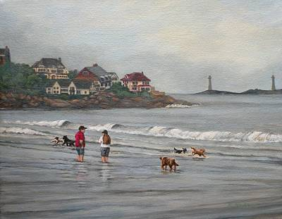 Fog Rolling In On Good Harbor Beach Poster by Eileen Patten Oliver