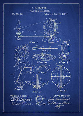 Folding School Globe Patent Drawing From 1887 Poster