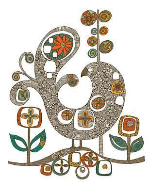 Folk Bird Poster by Valentina Ramos