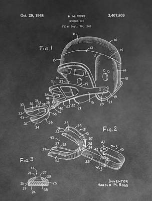 Football Helmet Patent Poster by Dan Sproul