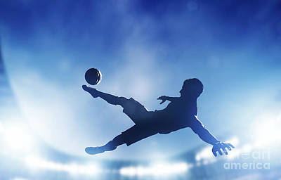 Football Soccer Match A Player Shooting On Goal Poster by Michal Bednarek