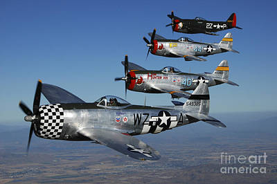 Formation Of P-47 Thunderbolts Flying Poster by Phil Wallick