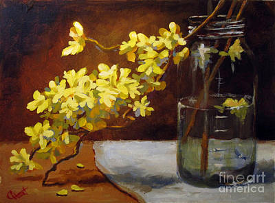 Poster featuring the painting Forsythia by Carol Hart