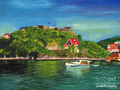 Poster featuring the painting Fort George Grenada by Laura Forde