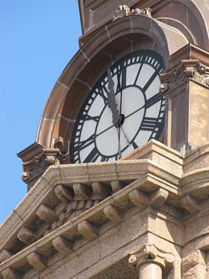 Fort Worth Texas Courthouse Clock Poster by Shawn Hughes