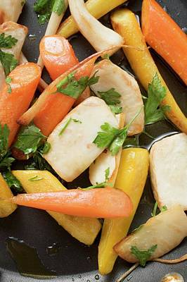 Fried Root Vegetables With Parsley In Frying Pan Poster