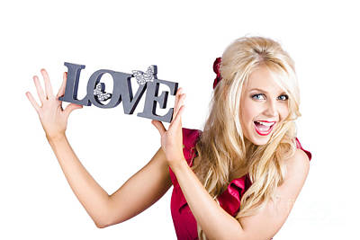 Fun Blonde Woman With Love Word Sign Poster by Jorgo Photography - Wall Art Gallery