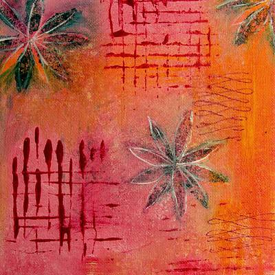 Poster featuring the painting Fun Flowers In Pink And Orange 3 by Jocelyn Friis