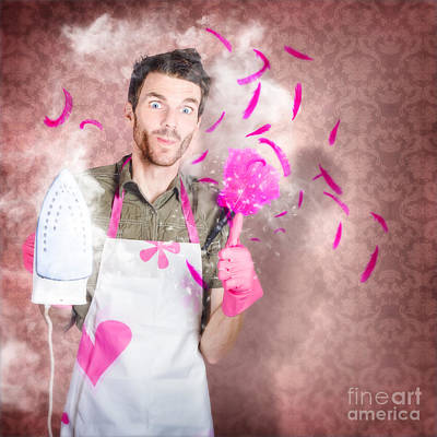 Funny Cleaning Man Doing Housework Chores Poster