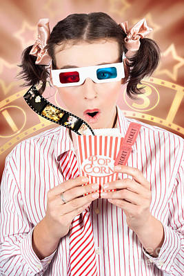 Funny Girl Watching 3d Movie At Cinema Poster