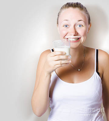 Funny Woman Smiling With Glass Of Full Cream Milk Poster