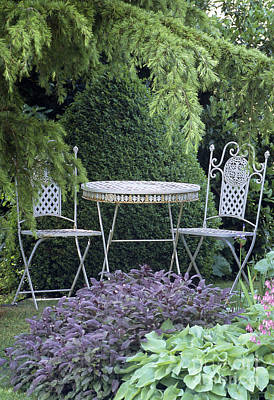 Garden Table And Chairs Poster by Archie Young