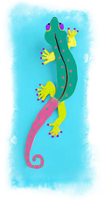 Poster featuring the mixed media Gecko Two by Deborah Boyd